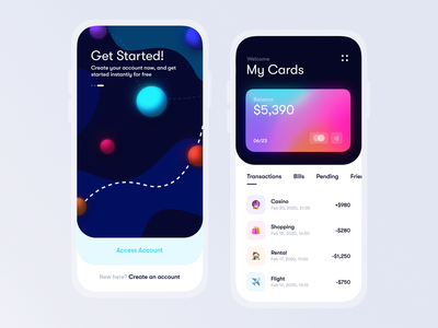 Mobile banking app motion wallet interface ux app app design finance after effects animation motion iphone ios home gradient colorful card business banking bank card bank
