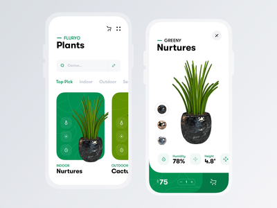 Plant Shop minimal after effects animation motion ecommerce plant tree product pot flower nature plants green clean interface design mobile app ui