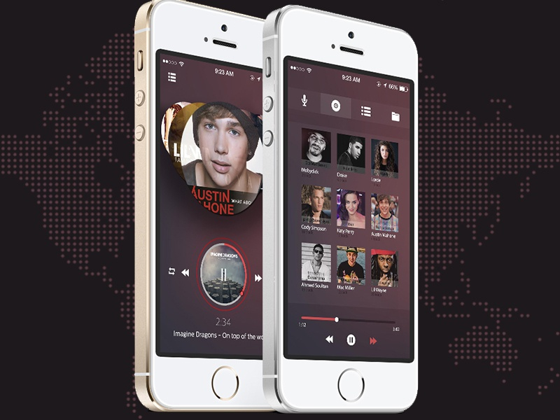iphone music player ios player free psd files by ayoub kada dribbble 12071
