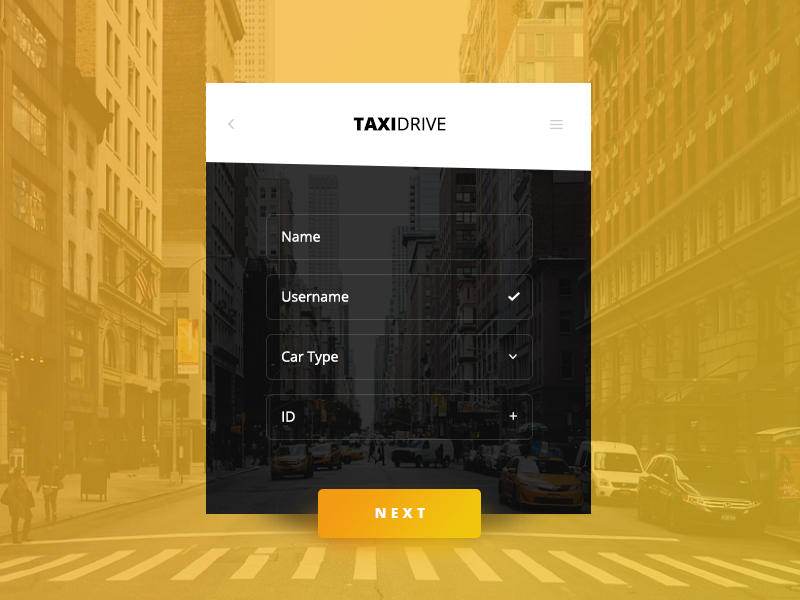 Day 069 - Taxi Driver Account Creation x3 interface daily black yellow driver ux taxi web design mobile app ui