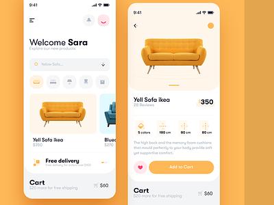 Furniture Shop App shopping app ecommerce app commerce furniture sofa minimal yellow modern ios clean interface ux mobile app ui