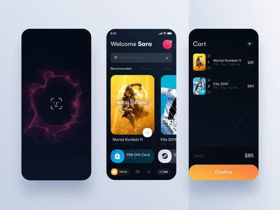 Gaming Store Checkout Particles Animation animation ecommerce store app gaming app motion design after effects particles checkout trendy payment gradient app mobile ux ui