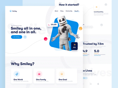 Smiley Landing Page community web design website after effects motion design animation header landing page modern clean interface web ux design ui