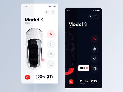 Tesla App clean ui electric car trendy minimal after effects mobile app design interface animation motion design ux ui app mobile car tesla