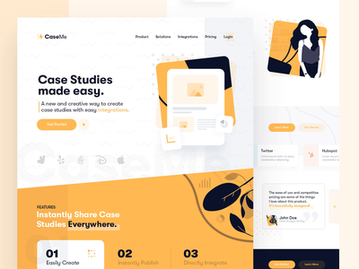 CaseMe Landing Page product design clean case study home page trendy hero image header web design after effects motion design landing page web interface ux ui