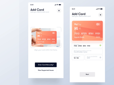 Add New Credit Card - 3D Interaction animation interaction payment user experience add credit card credit card trendy modern clean ui minimal gradient ios clean interface ux design mobile app ui