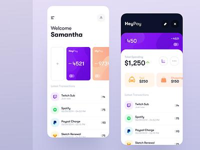 Bank App UI purple credit card payment finance spendings transactions bank app budget trendy minimal clean banking app banking bank interface ux design mobile app ui