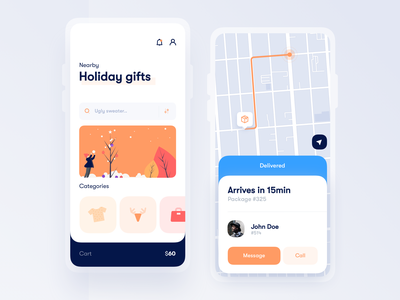 Gifts delivery App 🎄 trendy minimal delivery app holidays christmas store map ecommerce delivery illustraion clean interface ux design mobile app ui