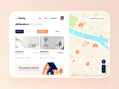 Homly   🏠 web appartment real estate map house motion after effects dashboad trendy minimal clean interface ux design mobile app ui renting product home