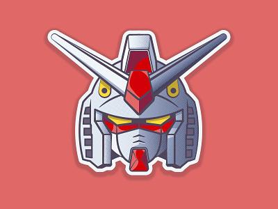 RX-78-2 GUNDAM anime halftones illustrator 2d robot gundam vector illustration