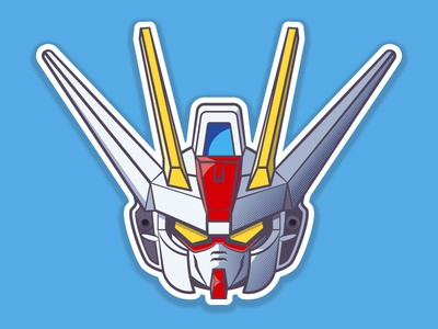 Aile Strike Gundam 2d helmet anime robot gundam vector illustration