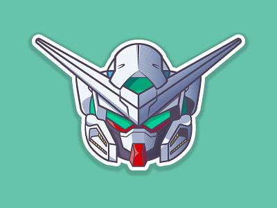 Gundam Exia flat  design anime robots helmets gundam 2d illustration vector