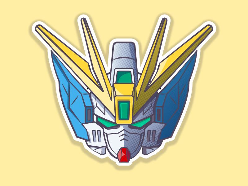 Wing Gundam Zero EW robot anime helmet gundam 2d vector illustration