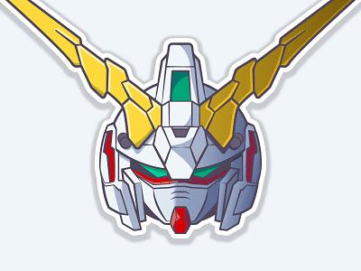Unicorn Gundam [Destroy Mode] robot 2d unicorn helmet anime gundam vector illustration