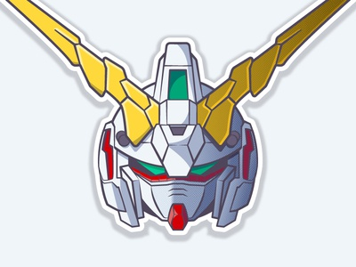 Unicorn Gundam [Destroy Mode] robot 2d unicorn helmet anime gundam vector illustration