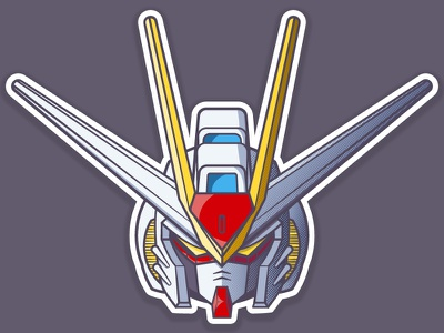 Strike Freedom Gundam helmet robot anime gundam 2d vector illustration