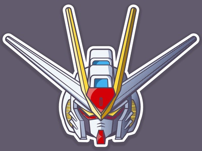 Strike Freedom Gundam helmet robot anime gundam 2d vector illustration