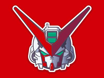 Gundam Astray Red Frame helmet anime robot gundam 2d vector illustration