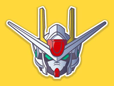 00 Gundam robot vector art helmet gundam vector 2d illustration