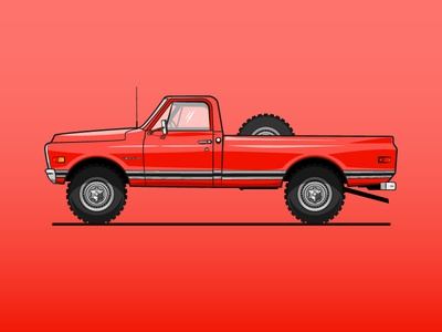 1970 Chevy Pickup chevy pickup truck simple illustrator flat 2d illustration vector