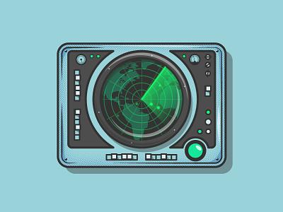Radar sonar machine submarine radar line art simple illustrator flat 2d illustration vector