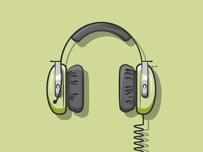 Headphones submarine sonar headphones simple illustrator flat 2d illustration vector