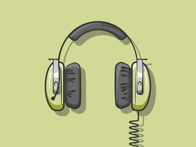 Headphones submarine sonar headphones simple illustrator flat 2d illustration vector