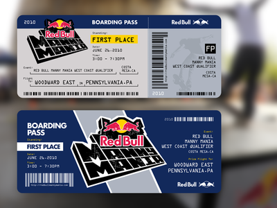 Red Bull Manny Mania Boarding Pass boarding pass tbt throwback skateboarding print red bull blue