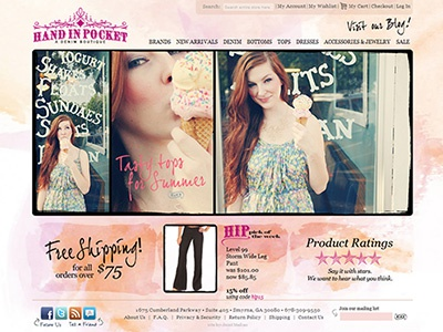 Hand In Pocket - Atlanta Boutique ecommerce store shopping boutique css xhtml