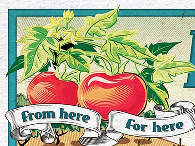 Crate label photoshop retro vintage illustrator composite