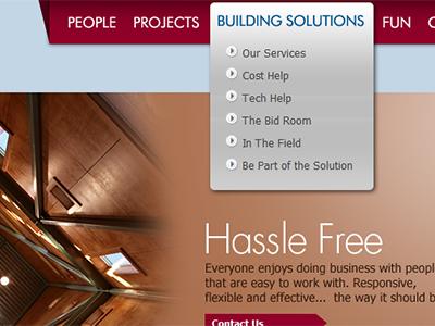 Ascent Builders drop down menu nav