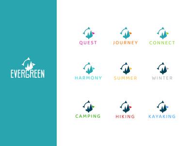 Evergreen logo and subbrands logo design identity design branding design