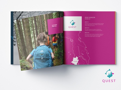 Outdoor excursion brochure pages - complimentary to brand print design brochure branding and identity