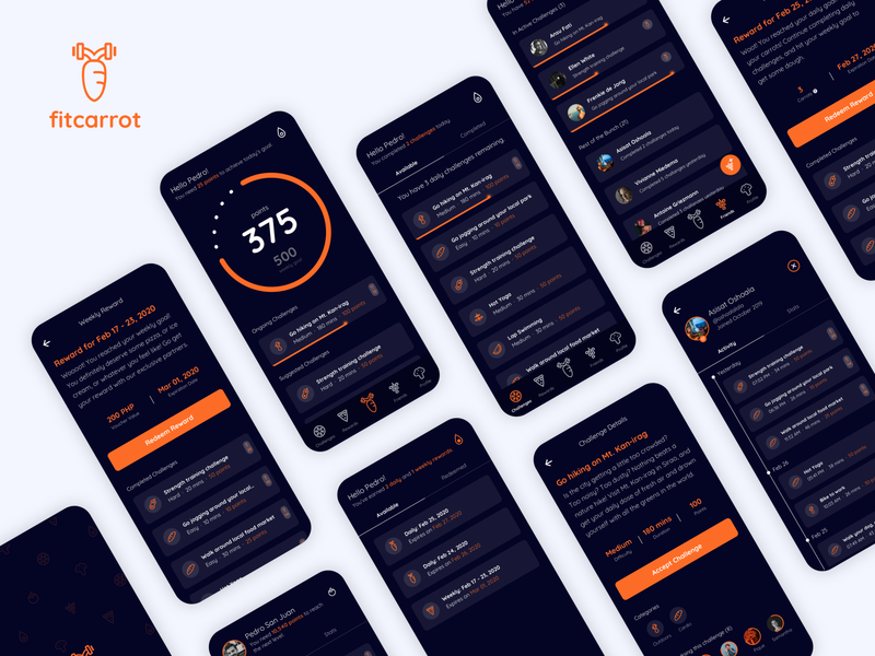 FitCarrot health affinity design rewards fit fitness app reward fitness sketch minimalist uidesign