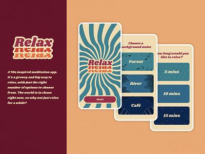 Relax - A 70s inspired meditation app vintage meditation minimalist uidesign mobile ui relax meditate 70s