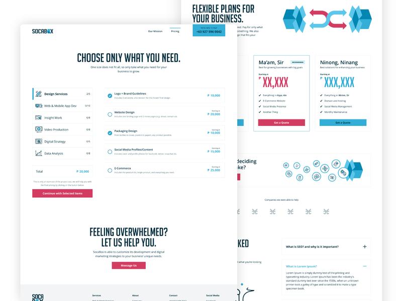 Socabox - Digital Agency - Pricing Pages website design web design ui design uidesign sketch philippines minimal design minimal digital agency pricing plan pricing page agency website agency