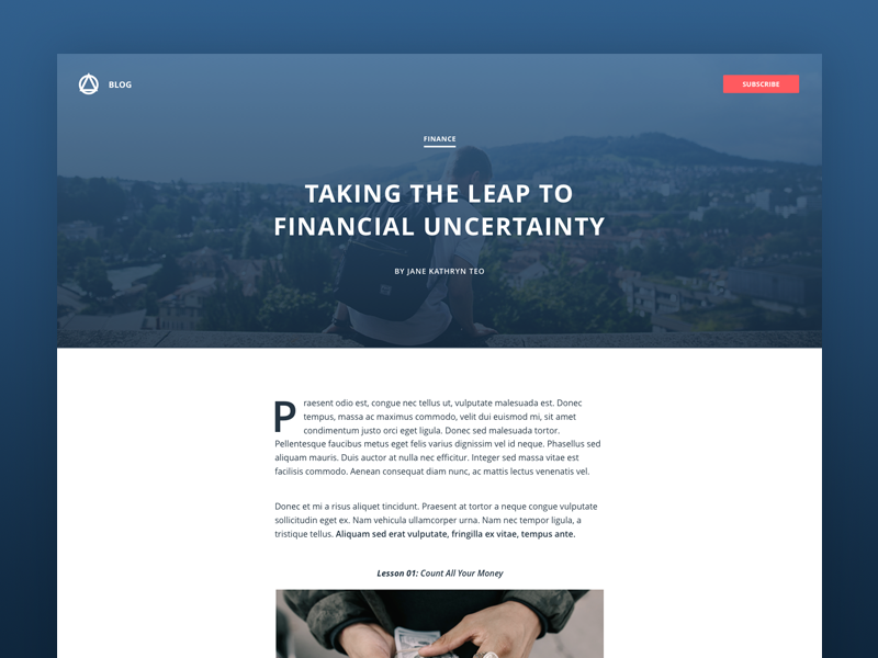 Blog Post accounting simple minimal webdesign uidesign flat layout post article single blog entry blog