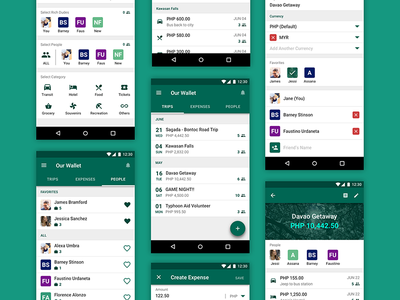 Our Wallet Design Refresh mobile ui forms friends money wallet spend trips group finance app android