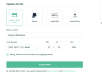 #DailyUI :: 002 - Credit Card Checkout