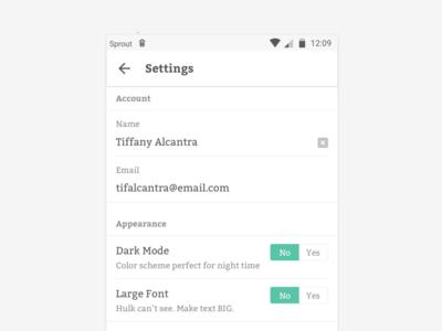 #DailyUI :: 007 - Settings app design toggle settings minimalist material green form dailyui
