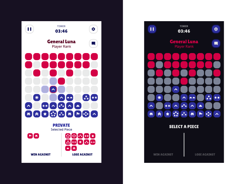 Game of the Generals - Battle Screen game of the generals board game dark mode tiles battle