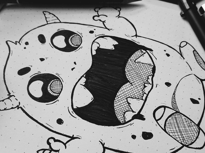 Practice Sketch Series #2 black and white monster sketch illustration drawing