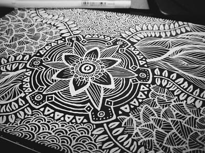 Doodles Series #1 plants flower illustration drawing black and white doodle