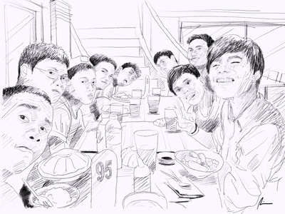 Groupie bonding pencil art sketch group friends illustration