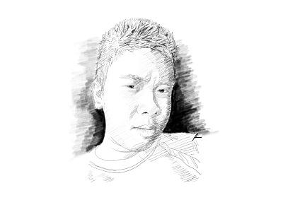 Portrait mode portrait sketch pencil art illustration
