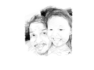 Father and Daughter parenting portrait sketch pencil art illustration