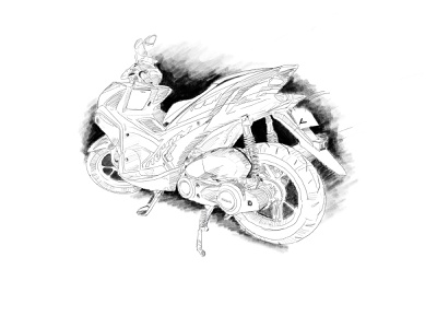 Scooter motorcycle aerox yamaha scooter pencil art sketch illustration