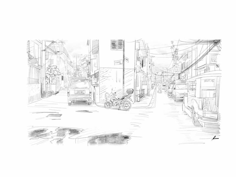 split street cityscape street urban sketch pencil art illustration