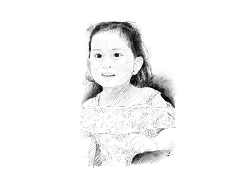 Child portrait digital art child portrait sketch pencil art illustration