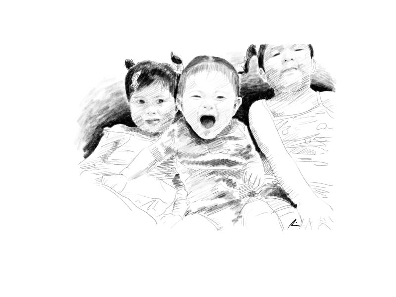 Tres Marias daughters digital art child portrait sketch pencil art illustration